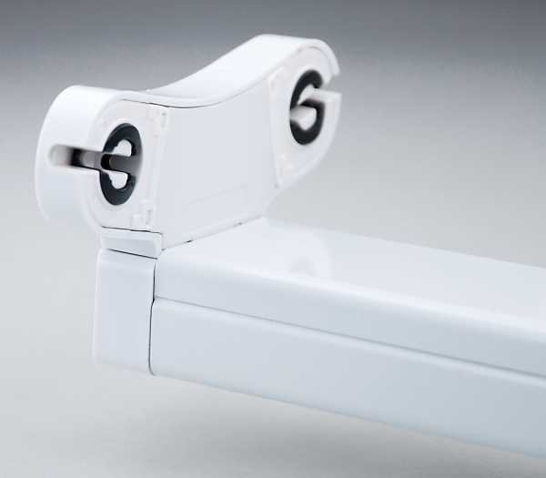 Halterung für LED Röhre T8, 2 x 120cm, (123,5cm x 9,95cm x 6,15cm), G13 Sockel