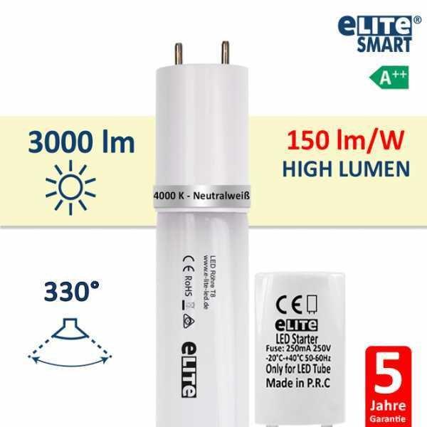 LED Röhre T8 120cm, 20W 3000lm, 4000 Kelvin Universalweiß, Glas