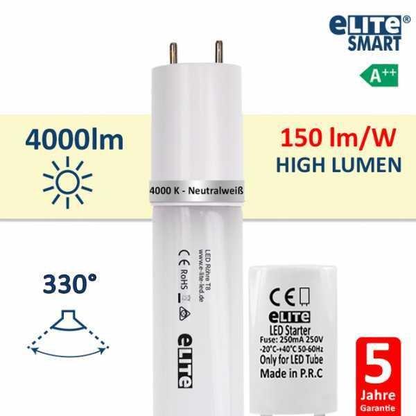 LED Röhre T8 150cm, 27W 4000lm, 4000 Kelvin Universalweiß, Glas