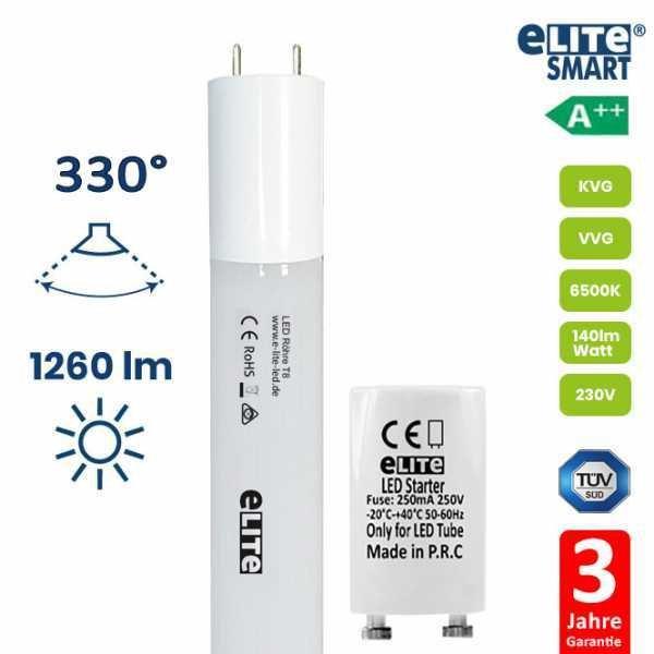 LED Röhre T8 60cm, 9W 1260lm, TANDEM Röhrenlampe, 6500 Kelvin Tageslichtweiß
