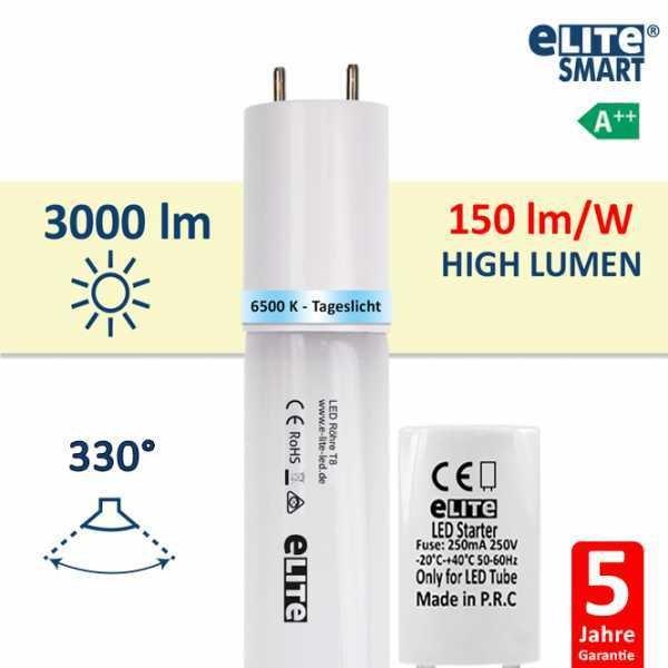 LED Röhre T8 120cm, 20W 3000lm, 6500 Kelvin Tageslichtweiß, Glas