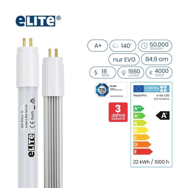 LED Röhre T5 849mm, 18W 1980lm, 4000 Kelvin Universalweiß