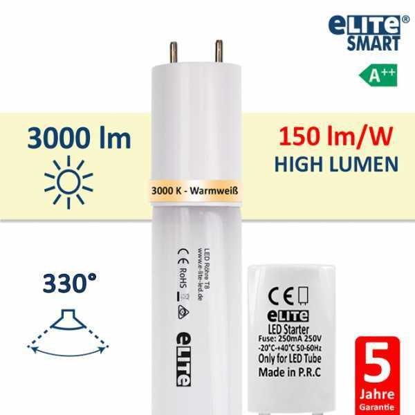 LED Röhre T8 120cm, 20W 3000lm, 3000 Kelvin Warmweiß, Glas