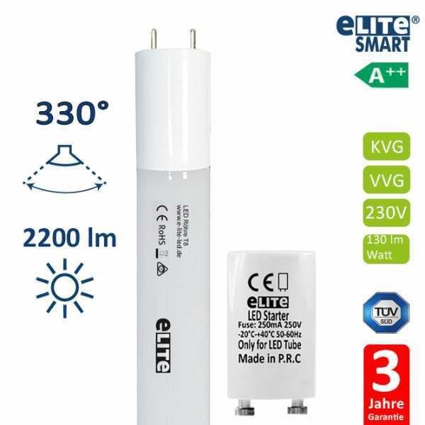 LED Röhre T8 120cm, 17W 2200lm, 3000 Kelvin Warmweiß, Glas