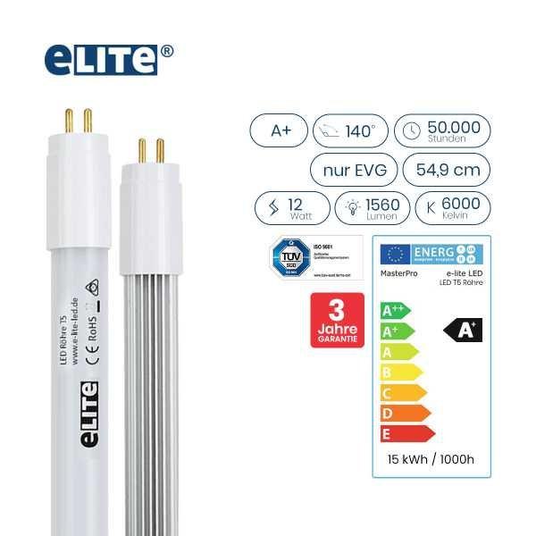 LED Röhre T5 549mm, 12W 1560lm, 6000 Kelvin Tageslichtweiß